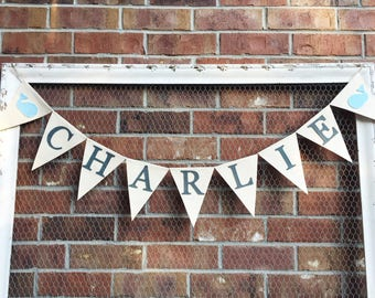 Whale Banner - Whale Name Banner - Nautical Banner - Nautical Name Banner - Nautical Baby Shower - Nautical Nursery - Whale Baby Shower