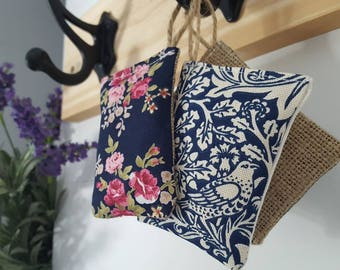 Lavender or rose scented sachets / pillows for hanging in wardrobe or drawers - 100% natural fragrance filling - in cotton or hessian fabric