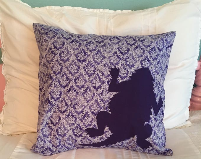 Purple Paisley TCU Horned Frog Pillow 16x16 Pillow Cover Purple with Purple Applique Frog RTS