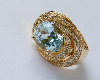 Heavy 14k Gold Pave Diamond and Aquamarine modernist contemporary cocktail ring
