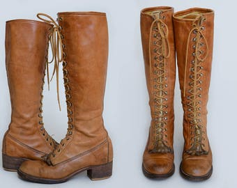 70s Frye Knee High Lace Up Caramel Brown Leather Extra Tall Engineer Work Boots Womens 7.5