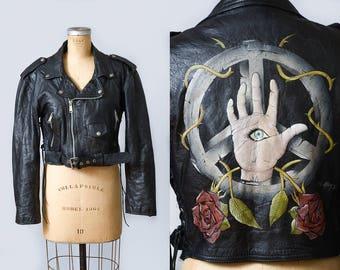 90s Hand Painted Motorcycle Jacket Peace Punk Custom Biker Punk Jacket