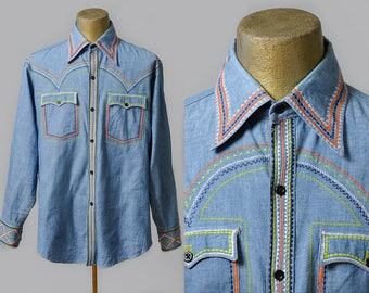 70s Embroidered Chambray Denim Button Down Hippie Shirt
