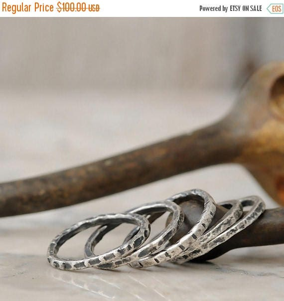 ON SALE Stacking Rings Set - Sterling Silver Stacking Ring Set - Rustic Stacking Ring Set of 5 - Antiqued Stacking Rings
