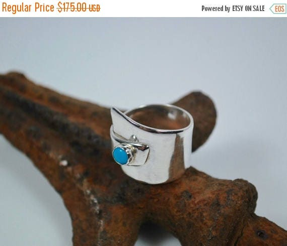 ON SALE Boho Ring - Sterling Silver and Turquoise Ring - Wide Band Ring - Bohemian Turquoise and Silver Ring - Hippie Ring - Turquoise Jewel