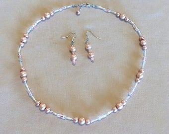 Golden Pearl & Peach Crystal Beaded Jewelry Set w/ Silver Accents, Bridesmaid Necklace Set, Simple Pearl Wedding Jewelry, Handmade Jewelry