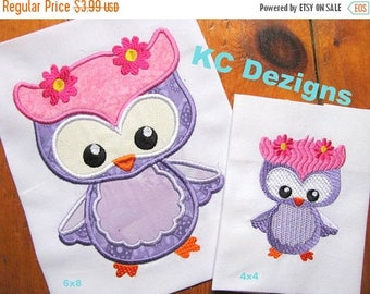 ON SALE Spring Owl With Flowers Machine Applique Embroidery Design