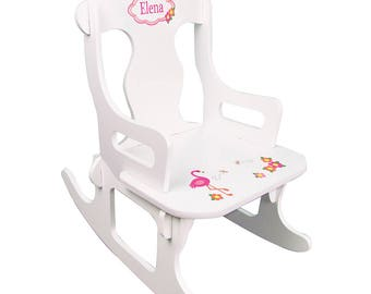Personalized White Puzzle Rocking Chair with Pink Flamingo Design-puzz-whi-342