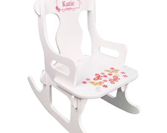 Personalized White Puzzle Rocking Chair with Yellow Butterflies Design-puzz-whi-300d