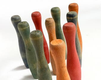 small vintage bowling pins, 10 amazing colorful skittles, primary colors, wooden toy, from Elizabeth Rosen