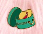 Sophie's Tacky Hat Shop Hard Enamel Pin // Studio Ghibli, Howl's Moving Castle, lapel, badge, gold, hat box, Hatter's, straw hat, anime
