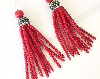 Red Tassel Earrings, Red Statement Earrings, Tassel Earrings, Bridesmaid Earrings