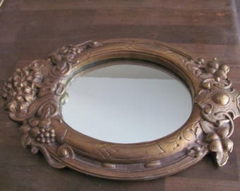 Vintage Shabby Chic Carved Wood Frame Mirror