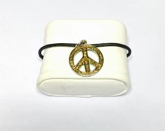 Vintage Peace sig Bracelet, Black Leather Cord & Charm Bracelet, silver tone, Item No. B412b