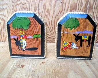 Vintage bookends, decorative bookends, Mexican decor, southwest decor, sleeping Mexican