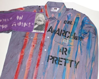 Punk Seditionaries Dress Shirt -Striped-Collar Button up- Stalin Patch-Distressed-Embroidered Skull-Anarchist-Purple Pain Ink Splats L 42