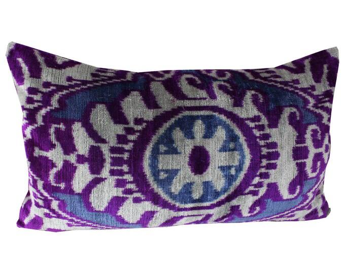 Silk Velvet Ikat Pillow Cover Lp408, Bohemian pillow, Velvet Ikat Pillow, Velvet Pillow, Velvet Pillow Cover, Ikat Pillows, Throw Pillows
