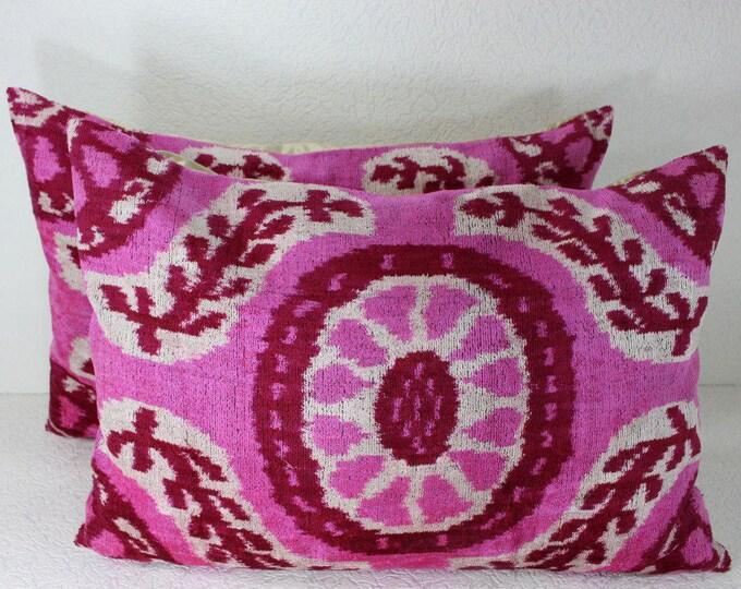 Set of 2 Silk Velvet Ikat Pillow Covers Lp320s, Bohemian pillow, Velvet Ikat Pillow, Velvet Pillow, Velvet Pillow Cover, Ikat Pillows