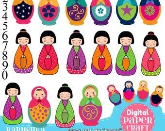 Babushka Clipart, Russian Doll Clipart, Kids Clipart, Kokeshi clipart, Japanese Doll  clipart, Clipart, Handrawn Clipart,