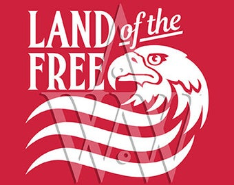 Land of the Free Eagle Svg Png Dxf Eps Cut File Clip art
