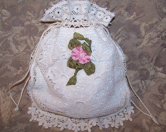 Antique Victorian,French,Made in France,FIRST COMMUNION,Purse,Pochette,Pouch,Cream Muslin,Lace,Young Girl Purse,First Communion Pouch,Bag