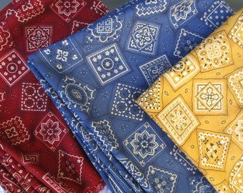 """Vintage Bandanna Print Cotton Fabric Blue, Red, Yellow 34 Large 22"""" Squares Pre-Cut Vintage 1960's Material Sewing, Quilt, Craft, Hat, Scarf"""