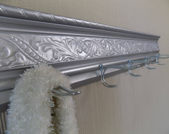 Metallic Silver Coat rackw/ 5 Vintage style xlong hooks that can really hold a lot,decorative embossed moulding,ideal for so many uses. gift