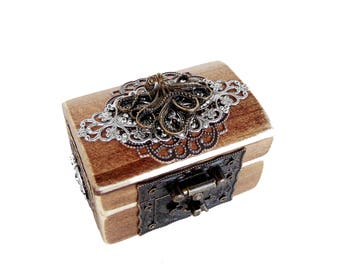 Octopus Engagement Ring Box - Nautical Ring Bearer Box - Pirate Treasure Chest