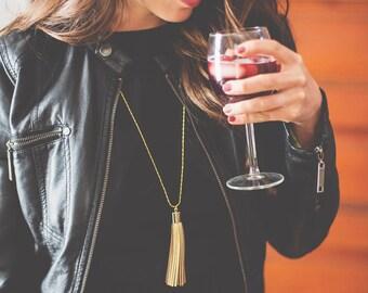 Gold Boho Necklace - Long Tassel Necklace Gold Leather - Layering Necklace - Gold Boho Tassel Necklace