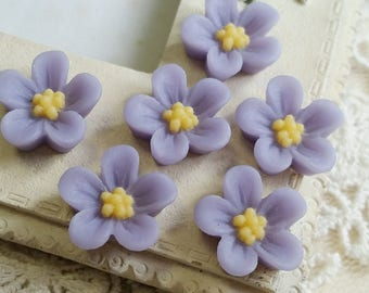 13 mm Lavender Colour Water Melon Resin Flower Cabochons (.ss).