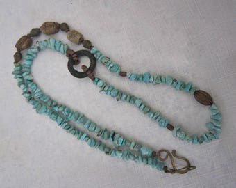 Vintage Chunky Turquoise Necklace Scarab Beads