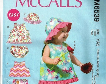McCall Pattern M6539 All Sizes Nb-Xlg Infant tops,skirt,pants,panties,hat Uncut Factory Folded