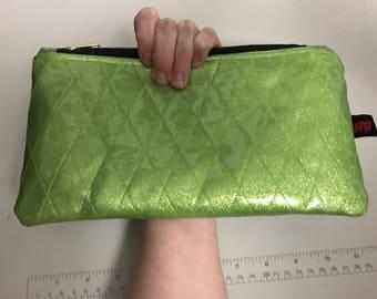 Lime Green Retro Diamond Tufted Sparkle Vinyl Wristlet/Clutch