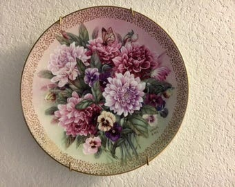 W.S. George, Plate, Collectible, Decorative Floral Plate, Dahlia Melody, Lena Liu, Symphony of Shimmering Beauty, signed