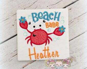 Beach babe shirt with crab - summer themed shirt- beach themed shirt- personalized shirt with cute crab- day at the beach- girls beach shirt
