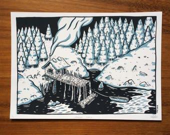Lakeside Shack - Screenprint - 21 x 29.7cm