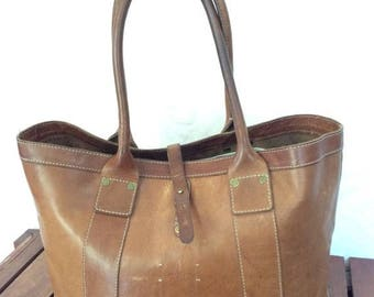 15%OFF VACATION SALE Rare Hard to Find Vintage Authentic Cole Haan Brown Leather Satchel Bag Excellent Worn Patina