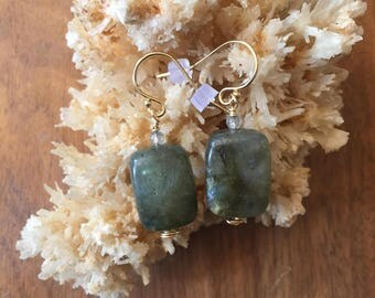 Gold Filled Labradorite Drop Earrings, Green