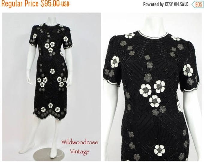 SUMMER SALE 1980's Scala Black, White and Grey Beaded Silk Cocktail Dress - Designer Vintage - Asian Design of Sequins and Bugle Beads - Key