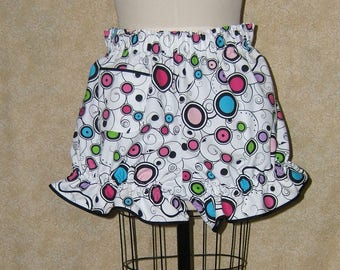Knickers Black swirls rainbow cell pocket black trim at leg ruffe and across top of pocket cotton fabric elastic at waist and leg openings