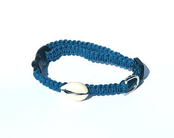 Navy Blue Hemp Collar, Small Dog, Shell, Cat, Kitten, Puppy Collar, Boho, Adjustable, Beach