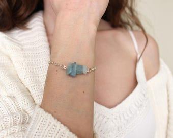 Raw Aquamarine Bracelet, March Birthstone Bracelet, Rough Aquamarine Bracelet, Dainty Aquamarine Bracelet, March Birthday Gift, Gold, Silver