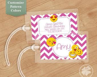 Emoji - Luggage Tag, Bag Tag, Backpack Tag, ID Tags, Personalized, Kids bookbag, Custom, Girls