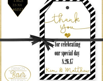 Wedding Favor Tags, Printable Tags, Personalized Wedding Tags, Engagement Party Tag, Party Favor Tags, Black and Gold Printable Tags, #61517