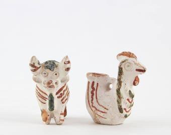 Vintage Peru Clay Pottery Animal Figurines - Torito de Pucara - Peruvian Folk Art Pucara Bull Bird Vessel Vase Miniatures