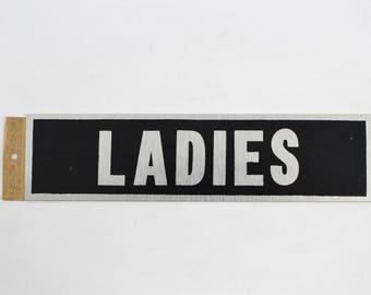 """Vintage HY-KO Ladies Restroom Sign - Self-Adhesive Aluminum Door Signage 2"""" x 8"""""""
