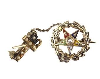 50% OFF Vintage Masonic Diamond 18K White Gold Pin, 14K Gold Top Seed Pearl Cross & Chain / Order of Eastern Star Past Matron White Shrine J