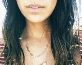 Gold Filled Sequin Necklace - Rose Gold Sequin Choker Necklace - Yellow Gold Half Sequin Choker - Dainty Necklace