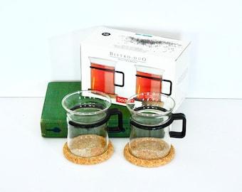 Bodum Glass Espresso Cups With Cork Coasters- Original Box