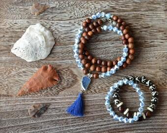 Blue Druzy Tassel Wood Long Necklace